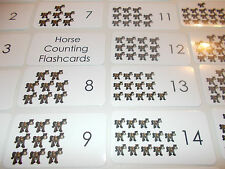 Horse Counting Laminated Flashcards. Preschool Picture and Word flashcards.
