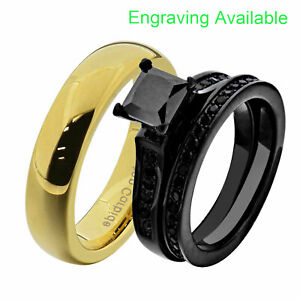 His & Hers Wedding Ring Set Black Stainless Steel Black CZ Tungsten Men Band GD