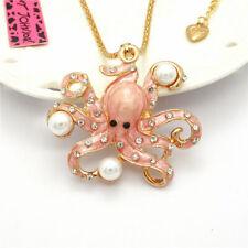 Deep Sea Pink Enamel Pearl Octopus Crystal Pendant Betsey Johnson Chain Necklace