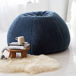 "Pottery Barn Teen Cozy Sherpa Indigo Bean Bag Slipcover NEW Large 41"""