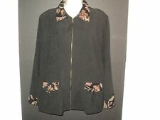 NEW Susan Graver Size L Large Black Moleskin Jacket with Tapestry Trim Zip Front