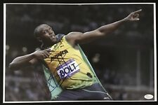 USAIN BOLT SIGNED OLYMPIC SPRINTER 11X17 PHOTO AUTOGRAPH GOLD JSA COA