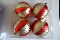 4 red gold foil 3.5 in shatter resistant Christmas Ornament Holiday Decoration