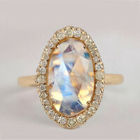 Moonstone Cocktail Ring Solid 14k Yellow Gold Pave Diamond Gemstone Fine Jewelry