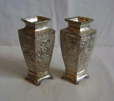 Pair Fine Antique Japanese Silver Plated / Antimony Vases C19th. 12.5 cm high
