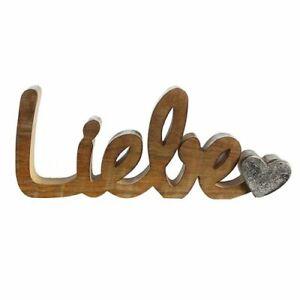 """GILDE Schriftzug """"Liebe"""" Aluminium Mango- Holz   H: ca. 10 cm - 43289"""