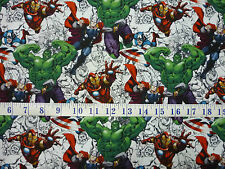 Marvel Avengers Sketch White  Cotton Quilting Fabric 1/2 YARD