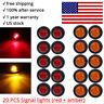 "20X Red Amber Mini 12V 3/4"" Round Marker Light Clearance 3 LED Bullet  singal"