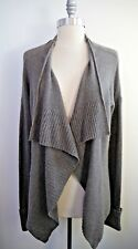 INHABIT gray 100% cashmere drape front cardigan sweater size M