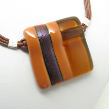 Handmade Fused Glass Pendant Necklace with Brown Striped Stone, Jan Art Jewelry