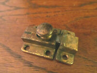 Vtg Hoosier Medicine Cabinet Cupboard Door slide Latch / Catch Old Brass Finish