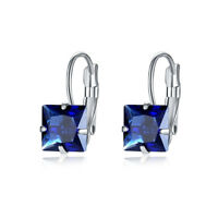 Engagement Princess Cut Emerald Sapphire Ruby Gemstone Silver Dangle Earrings