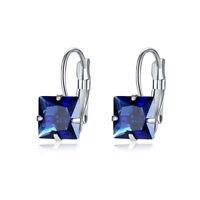 Engagement Princess Cut Emerald Sapphire Ruby Gemstone Silver Dangle Earrings