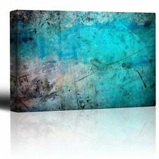 Blue and Splatter Ink Watercolor Paint Background - Canvas Wall Art - 16x24