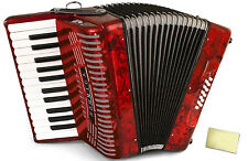 Hohner Accordions 1303-RED 37-Key 12-Bass Accordion Bundle