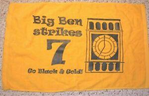 PITTSBURGH STEELERS VINTAGE TERRIBLE TOWEL BIG BEN STRIKES 7 GO BLACK & GOLD