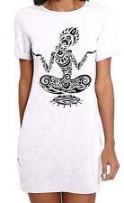 Tribal Yoga Lotus Pose Tattoo Large Print Women's T-Shirt Dress - Meditataion