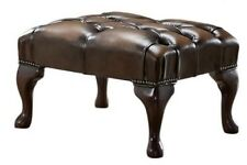 Chesterfield Deep Buttoned Queen Anne Footstool 100% Antique Brown Leather