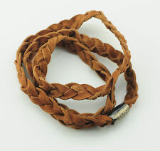 Story by Kranz & ZIEGLER Pulsera de cuero trenzado marrón NUEVO 57cm