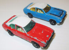 2 Vintage Majorette France Ford Capri's #251 metal casts Blue & Red white roofs