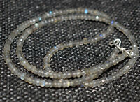 "Labradorite 925 Sterling Silver 12-50"" Necklace 3-4mm Round Faceted Beads BG217"
