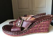 Hush Puppies Radiance Burgundy Red Leather Sandal Wedge Heel Shoe Size 5 38