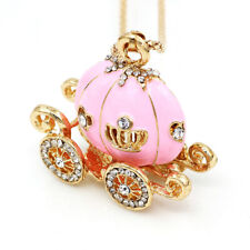 Pink Enamel Crystal Pumpkin Carriage Pendant Chain Betsey Johnson Necklace Gift