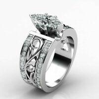 Elegant Women 925 Silver Wedding Ring Marquise Cut White Sapphire Ring Sz 6-10
