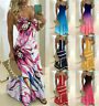 Plus size Womens Boho Summer Holiday Long Sling Dress Maxi Strappy Sundress