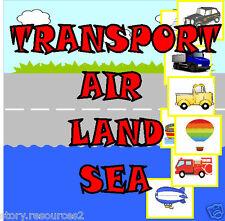 CD * TRANSPORT TOPIC Teaching resource AIR LAND SEA Sorting KS1 EYFS CHILDMINDER