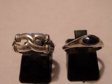 Vintage Size 7 Sterling Silver 2 Ring Lot Shube & Coyote Wolf Head