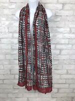 """Mark Red Border Scarf Shawl With Black And White Check Print Viscose 83x25"""""""