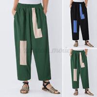 Oversize Femme Pantalons Long Couture Décontracté Coton Loisir Taille Haute Plus