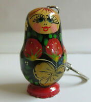 Russian Doll Matryoshka Keychain Hand-Painted Khokhloma Style Wood