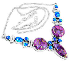 22g Copper Purple Turquoise & Fire Opal 925 Silver Necklace Jewelry SN15724