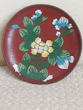 Antique Chinese Cloisonne Red Small Flower Plate
