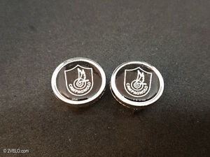 Vintage style Campagnolo shield silver Handlebar End Plugs