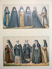 Costume Sœur Religieuse - Chromolithographie originale 19e Racinet BÉNÉDICTINES