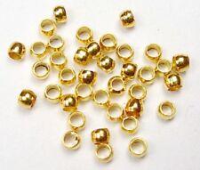 200 Perles à écraser 2mm en métal Doré Forme Baril Création Bijoux Colliers