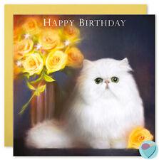 Carte d'anniversaire ami soeur roses jaunes à partir ou PERSAN CHINCHILLA Cat Lover