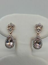 14kt Rose Gold Halo Pear Shaped Morganite & Diamond Fleur-de-lis Drop Earrings