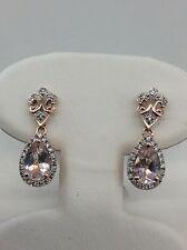 14kt Rose Gold Halo Pear Shaped Morganite & Diamond Fleur-de-lis Drop Earrings