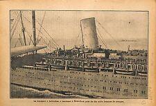 Ocean Liner Paquebot Leviathan Soldiers Sammies New-York USA 1919 ILLUSTRATION