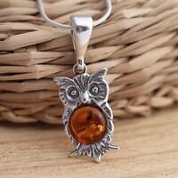 Cognac Baltic Amber 925 Sterling Silver Owl Pendant Jewellery