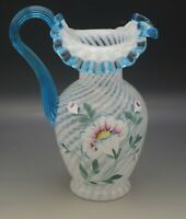 FENTON GLASS 1995 FRENCH OPALESCENT FLORAL PITCHER HISTORIC 90th ANNIV SIGNED