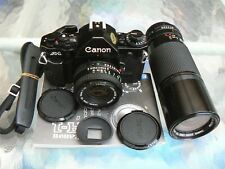 CANON A-1 CAMERA W/CANON FD 50MM & 100-200MM LENS *35MM SLR CAMERA *MINT KIT