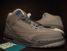 2011 Nike Air Jordan III 3 Retro FLIP CEMENT COOL GREY BLUE GLOW 441140-015 4Y 4