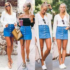 GN- Women Button Denim Skirt High Waist Bodycon Slim Pencil Short Mini Skirt Bea