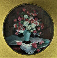 SONNET OF LOVE Plate Sonnets in Flowers Glenna Kurz #3 Floral Pink White & Vase