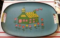 Vtg Nevco Serving Tray with House and Flowers cute cottage chic